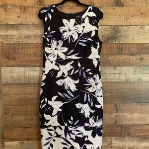 Vince Camuto navy floral midi sheath dress, sz 14